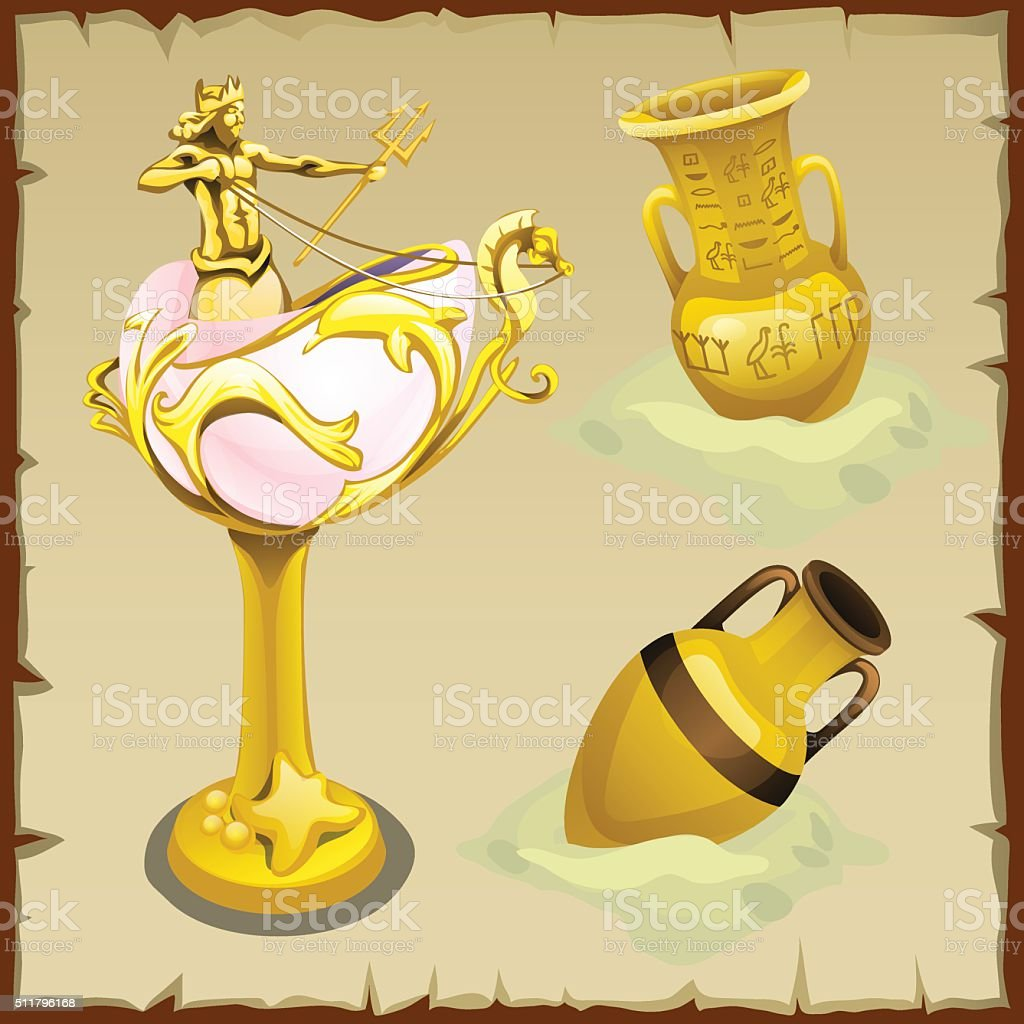 Antique gold vases and shape king of the seas vector art illustration