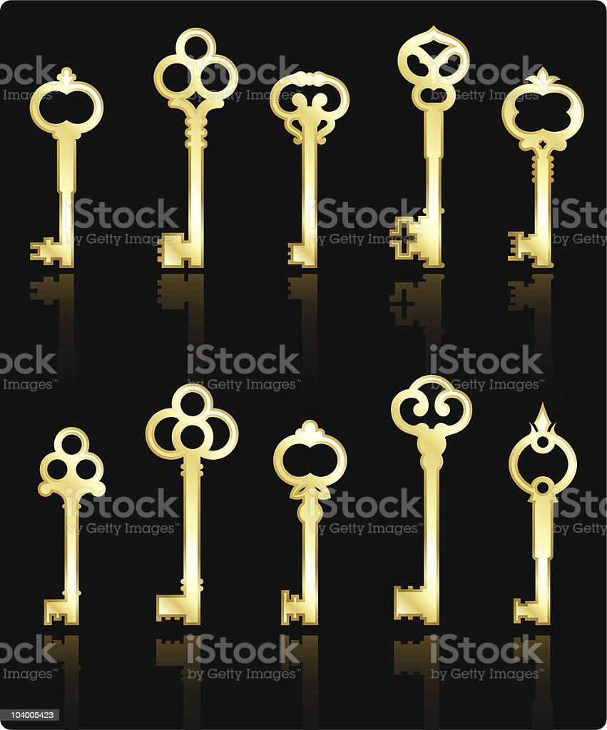antique golden keys collection vector art illustration