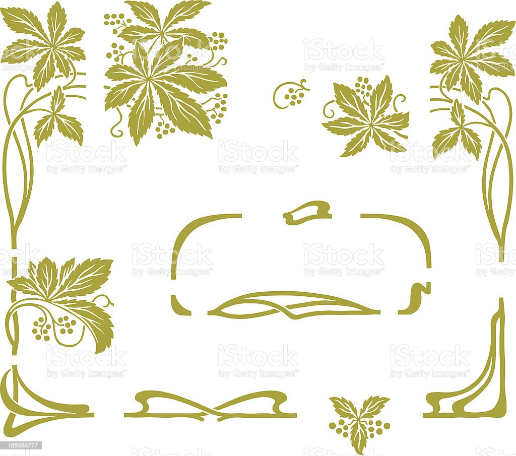 Antique grapes frame royalty-free stock vector art