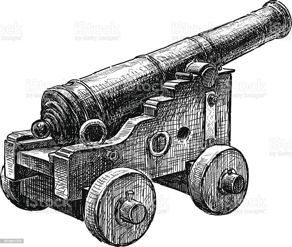 antique gun vector art illustration