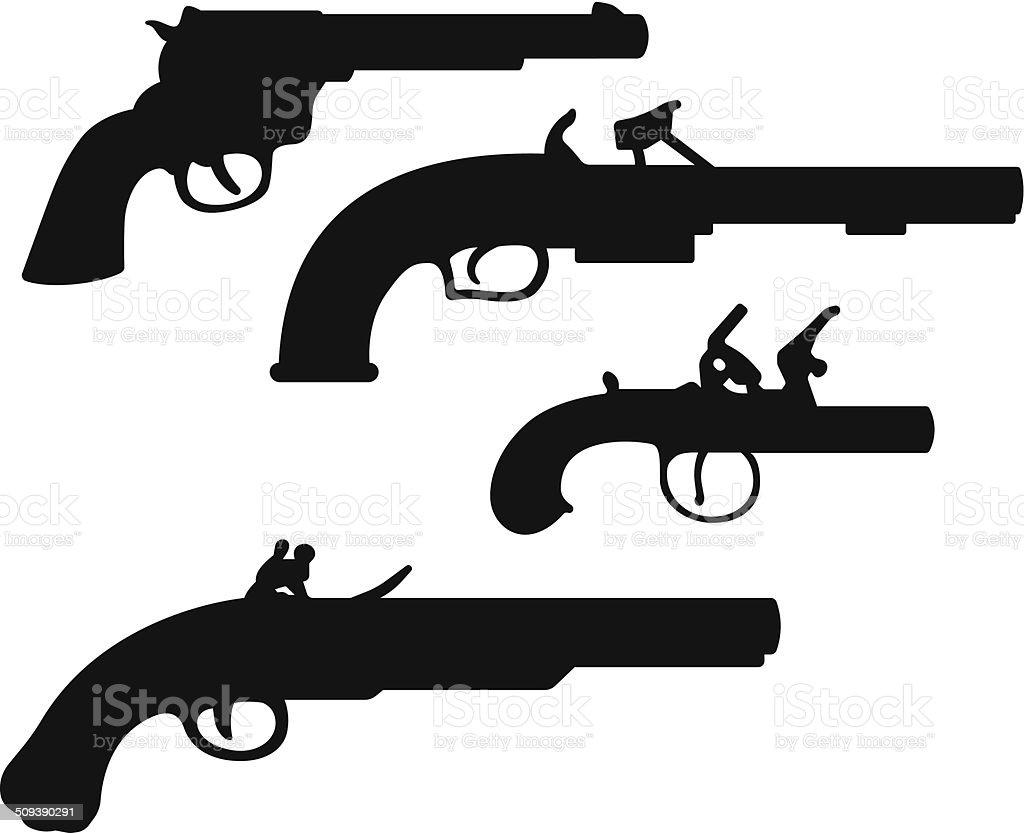 Antique Guns vector art illustration