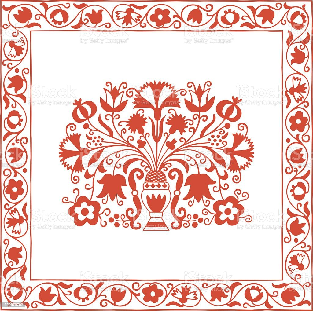 Antique Hungarian embroidery pattern with carnations and pomegranate vector art illustration