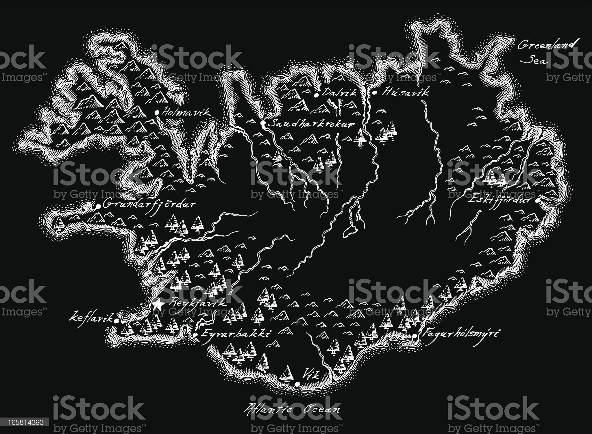 Antique Iceland Map royalty-free stock vector art