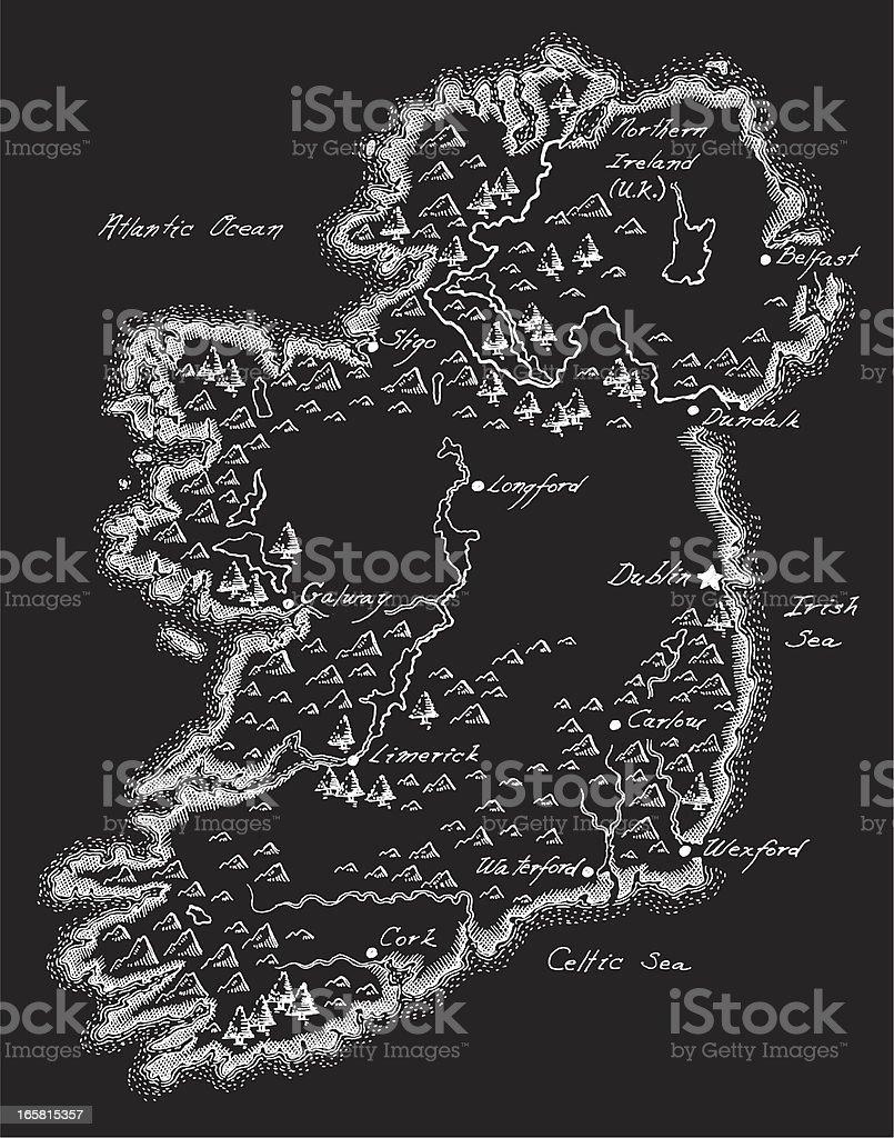 Antique Ireland Map vector art illustration