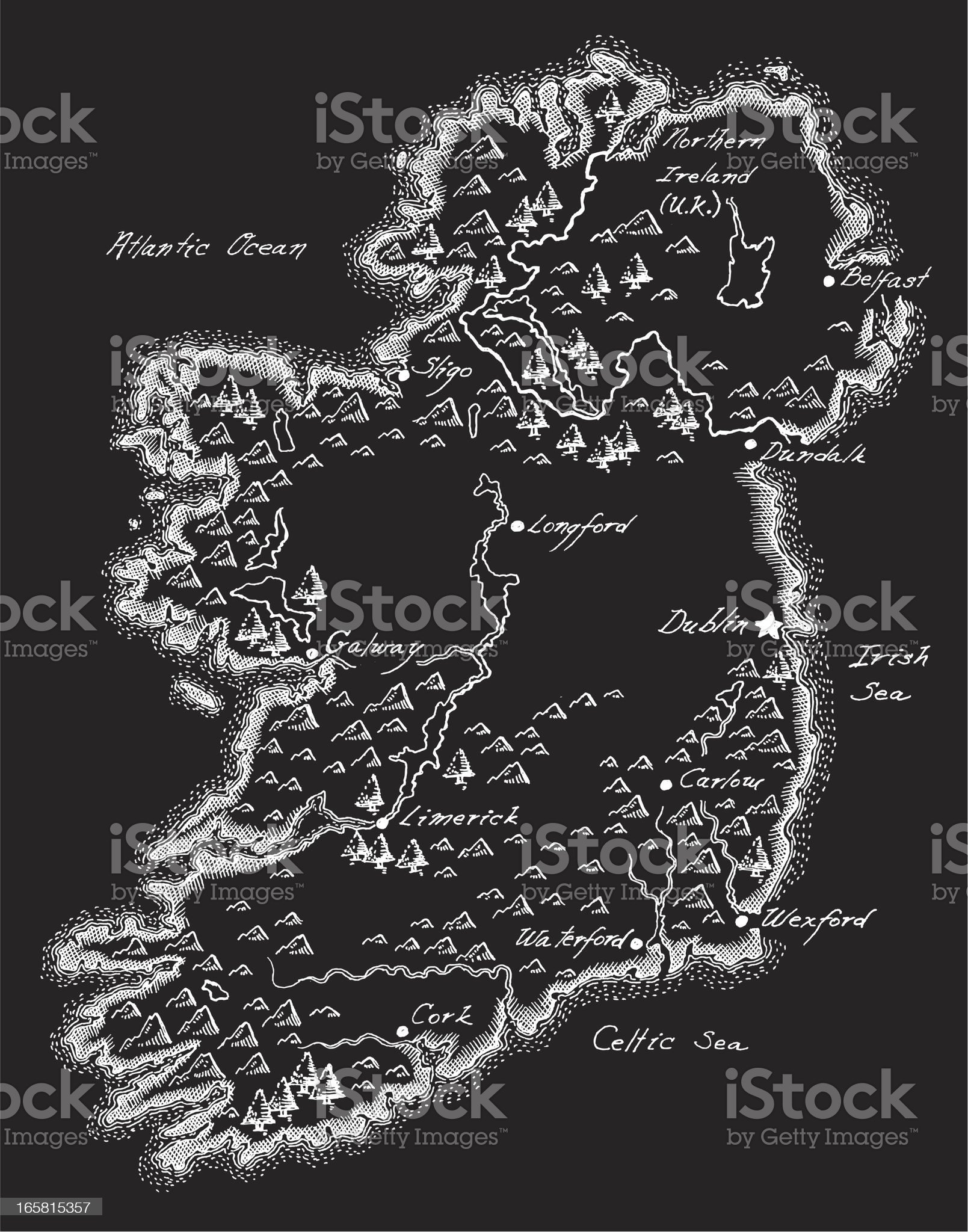 Antique Ireland Map royalty-free stock vector art