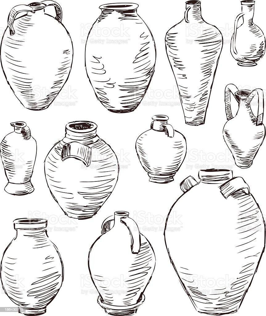 antique jugs vector art illustration