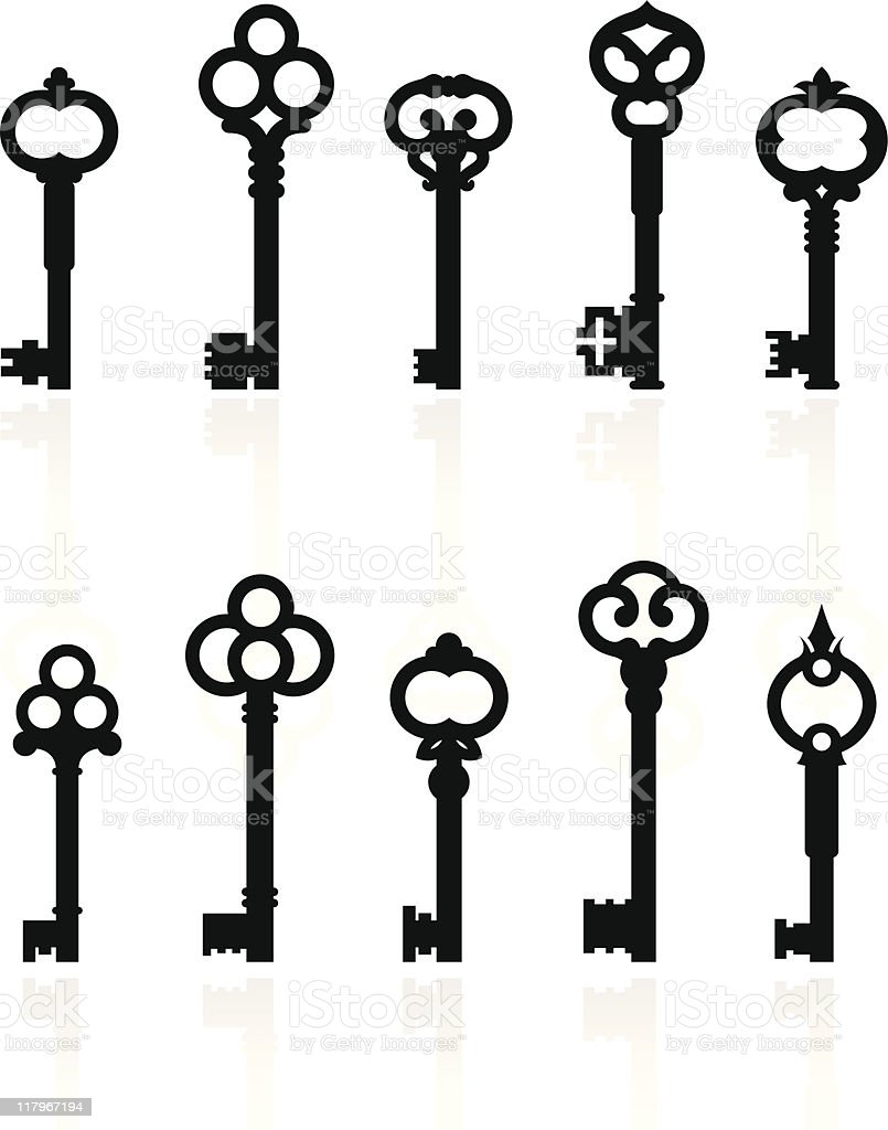 antique keys collection royalty-free stock vector art
