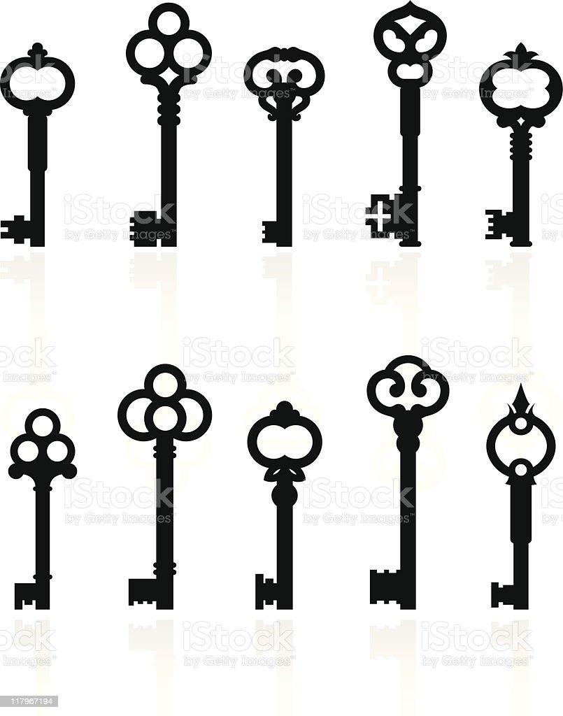 antique keys collection vector art illustration