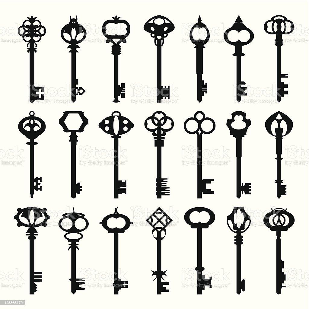Antique Keys vector art illustration
