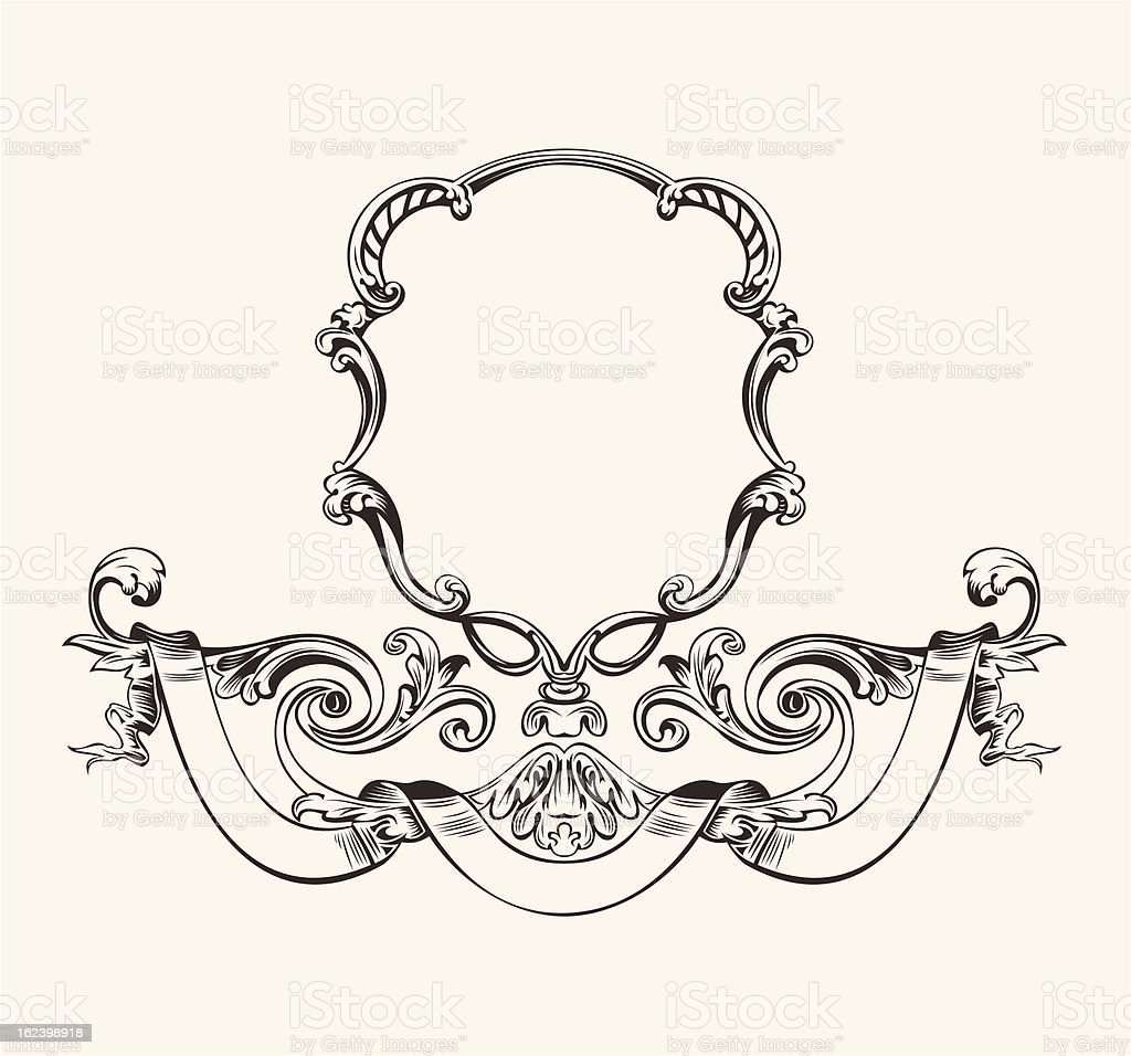 Antique Luxury High Ornate Frame And Banner royalty-free stock vector art