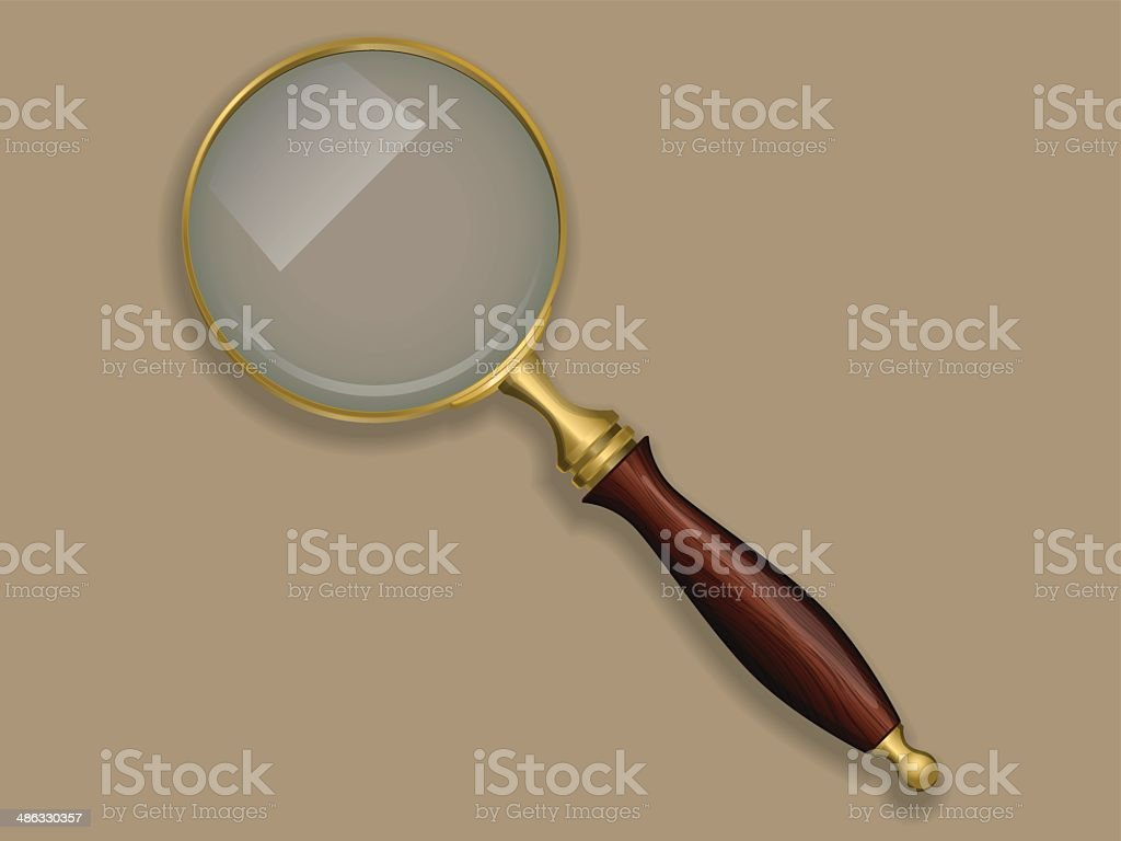 Antique magnifying glass. royalty-free stock vector art