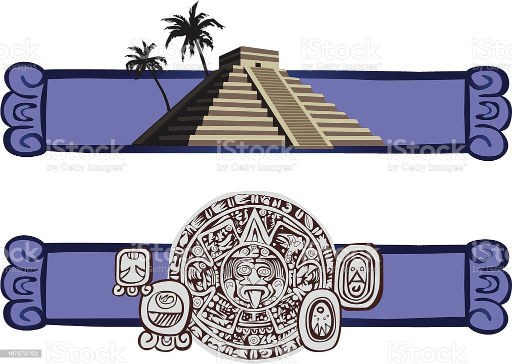 Antique Mayan Pyramid and Glyphs royalty-free stock vector art