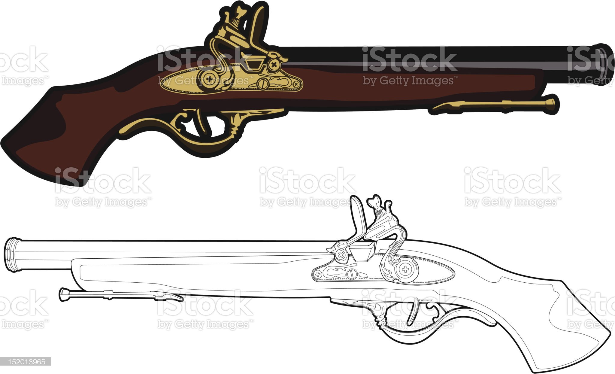 Antique Musket royalty-free stock vector art