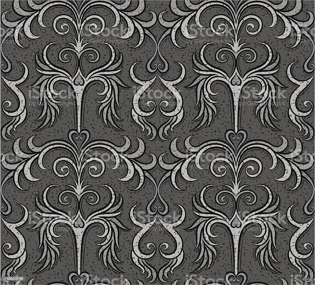 Antique ornate seamless wallpaper, fabric, woodcut royalty-free stock vector art