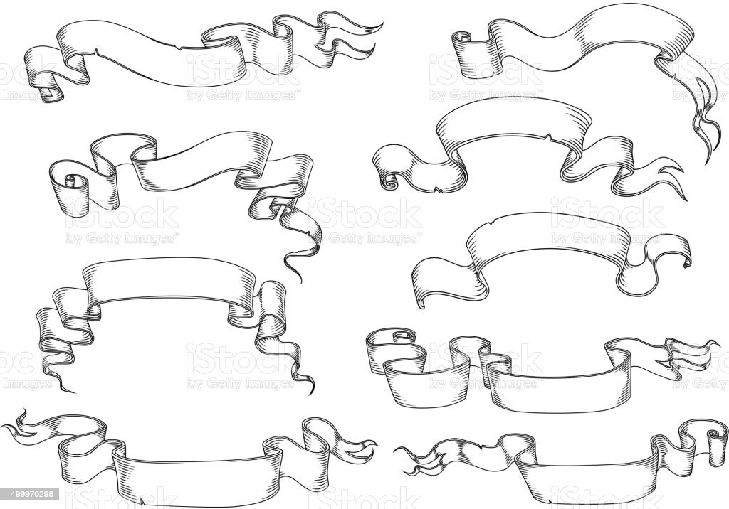 Antique papaer scrolls and ribbon banners vector art illustration