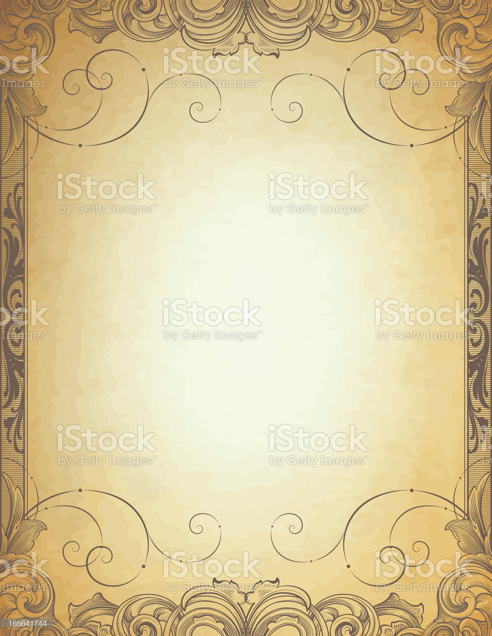 Antique Parchment Frame royalty-free stock vector art