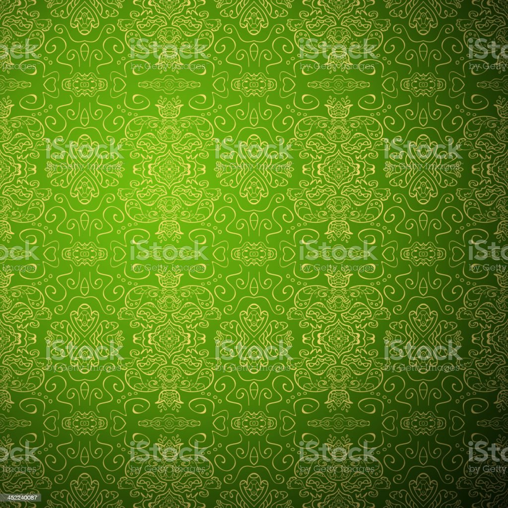 Antique pattern background. Green seamless wallpaper royalty-free stock vector art