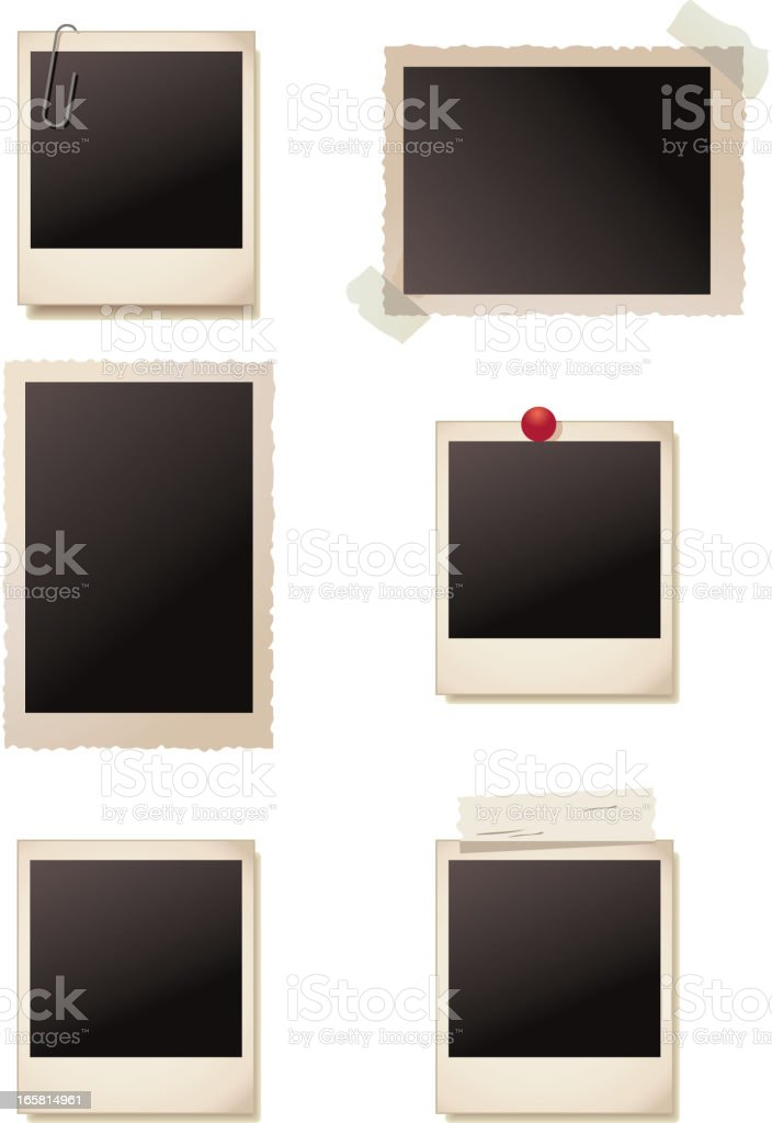 Antique photo frames with blank  images vector art illustration