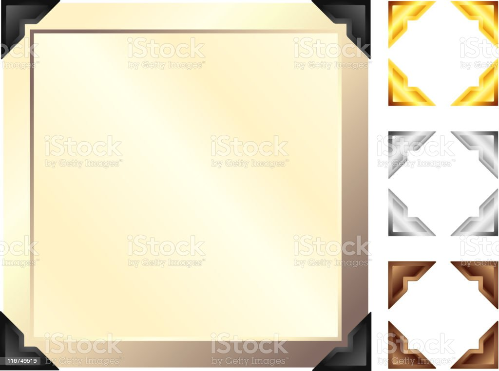 Antique picture frame with dark corners. vector art illustration