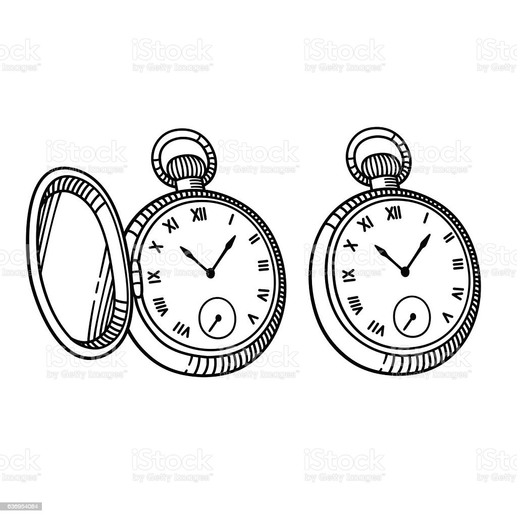 Antique pocket watch vector art illustration