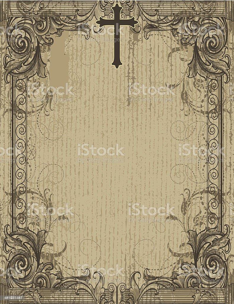 Antique Scrollwork Cross royalty-free stock vector art
