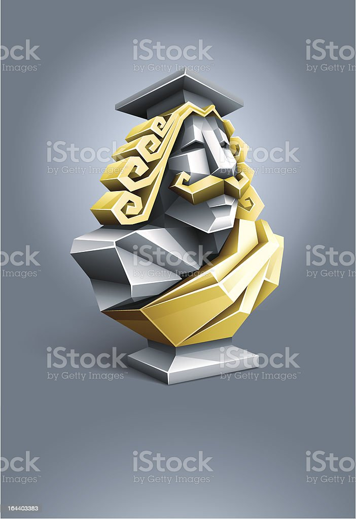 antique sculpture of old wise professor royalty-free stock vector art