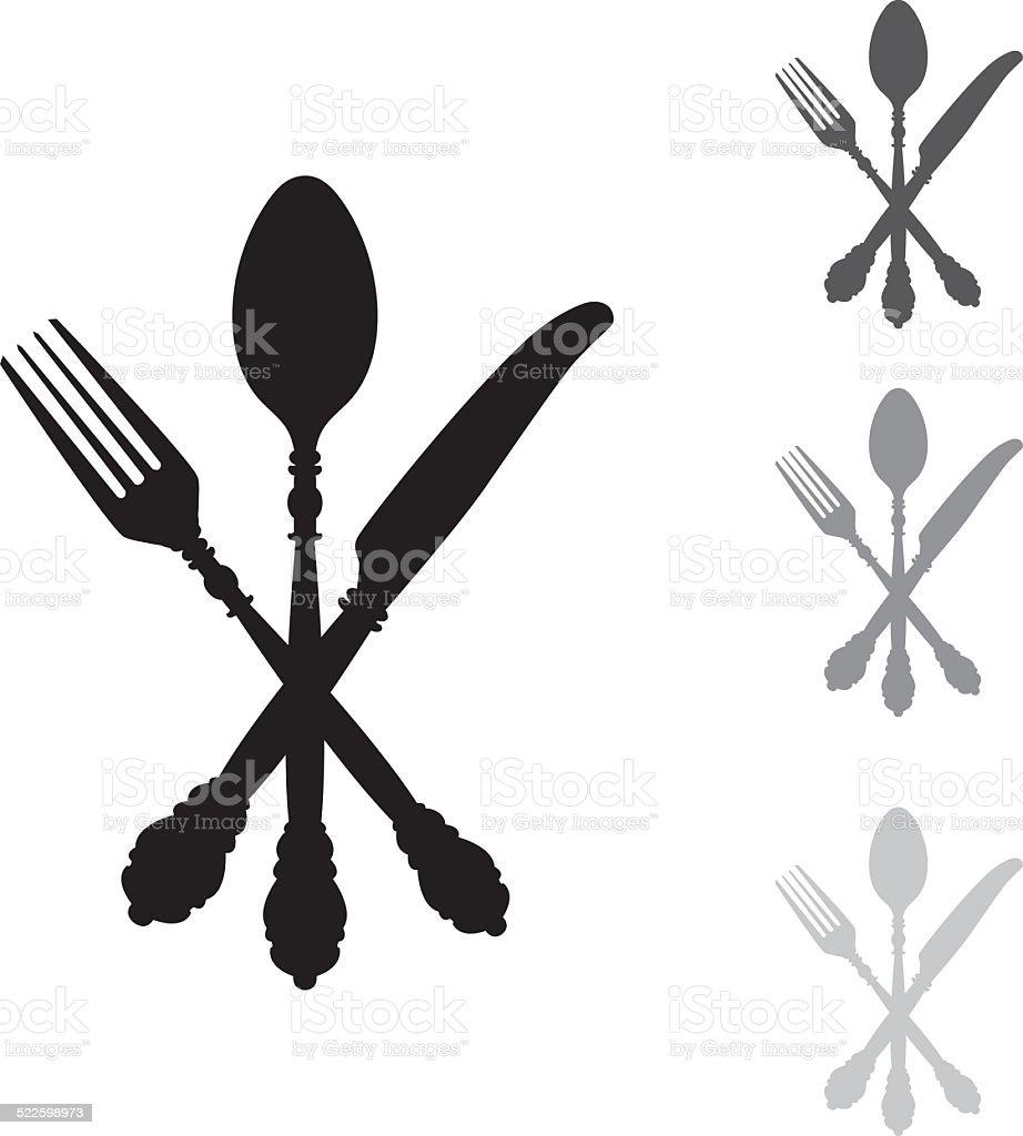 Antique Silver Cutlery vector art illustration
