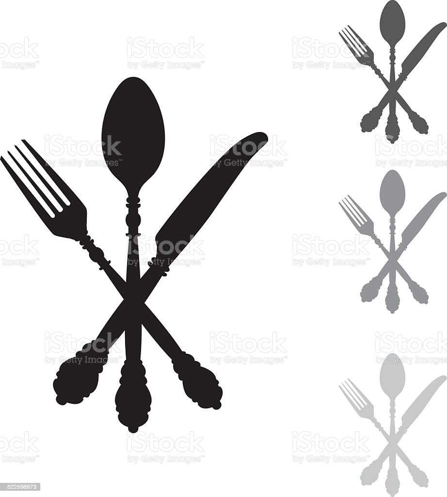 Antique Silver Cutlery vector art illustration