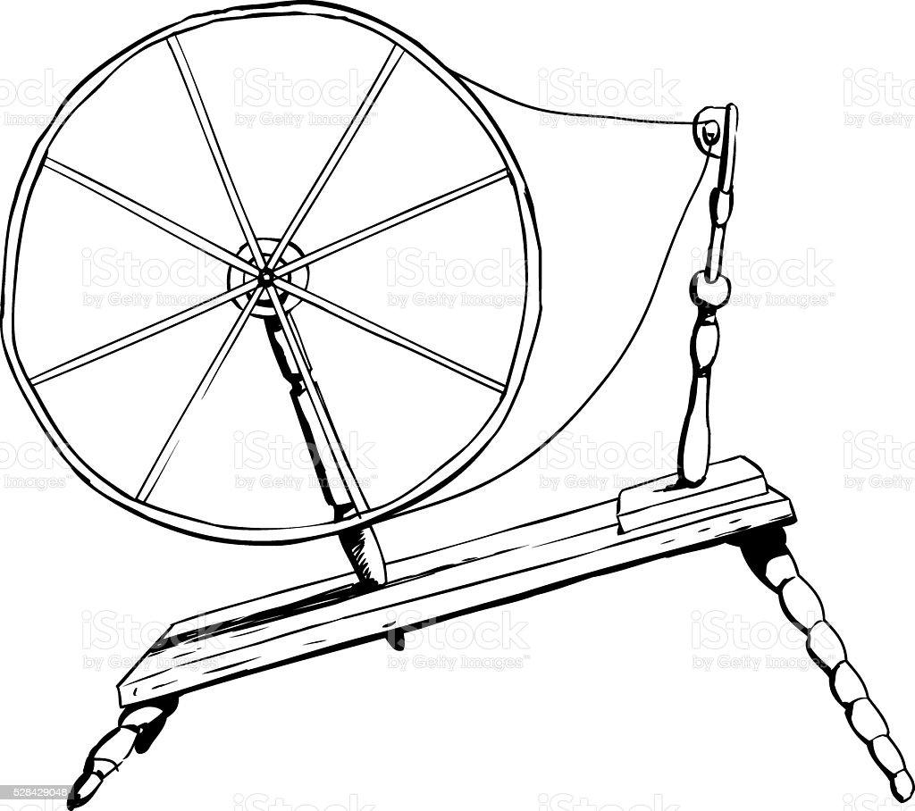 Antique Spinning Wheel Outline vector art illustration