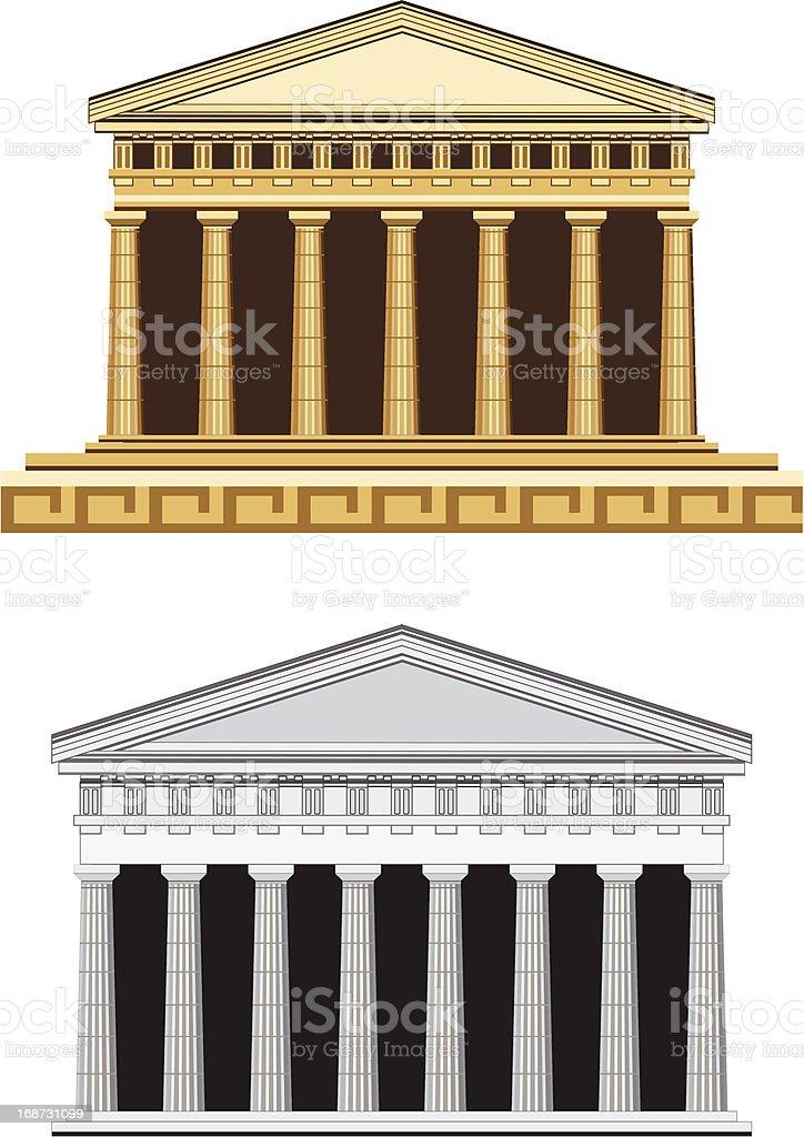 Antique Temple Facade royalty-free stock vector art