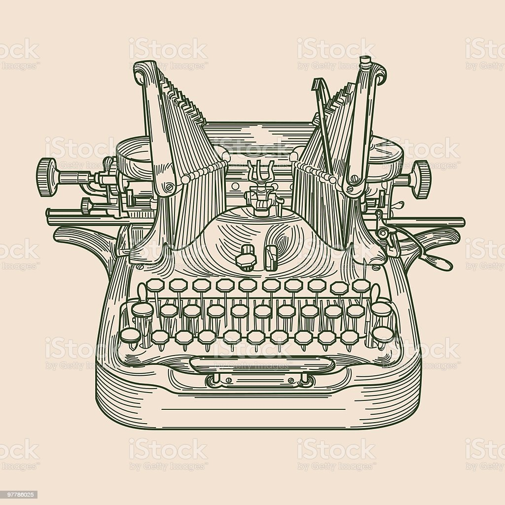 Antique Typewriter vector art illustration