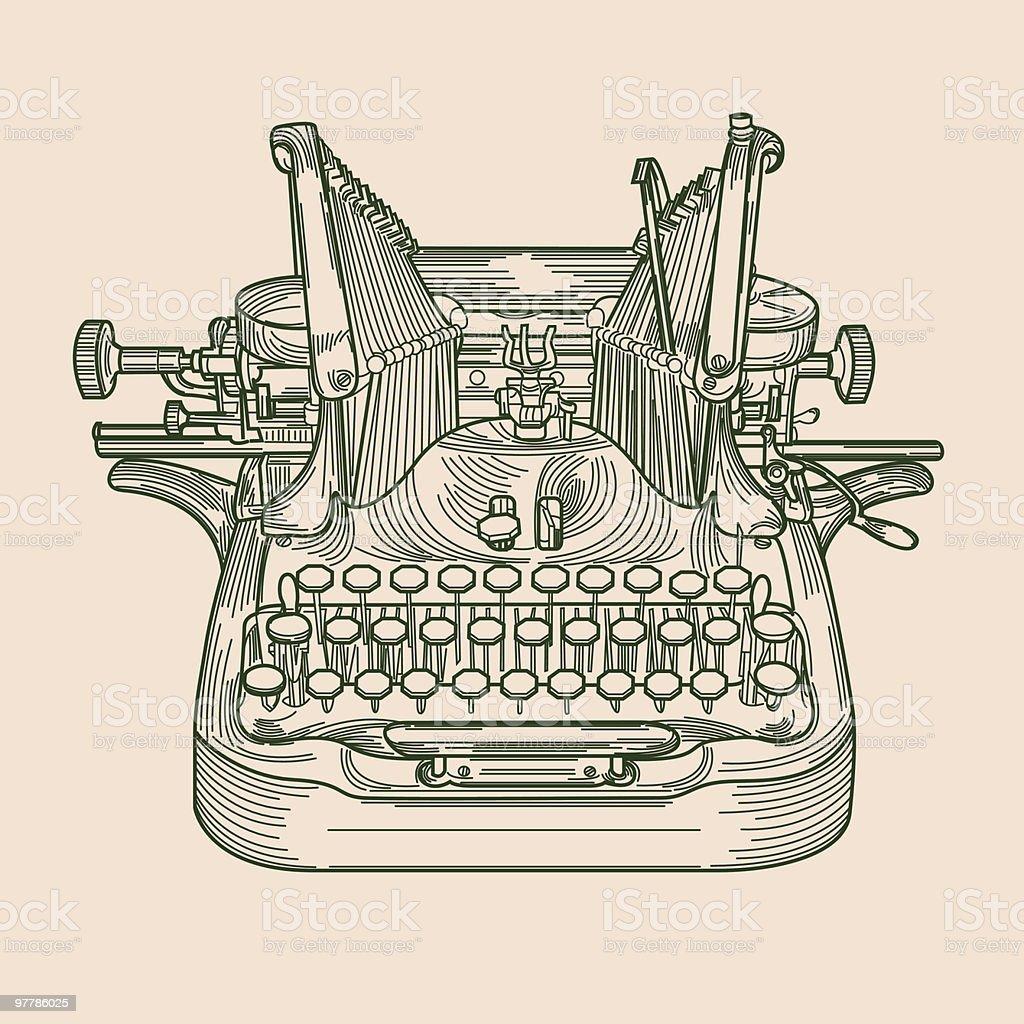 Antique Typewriter vector art illustration