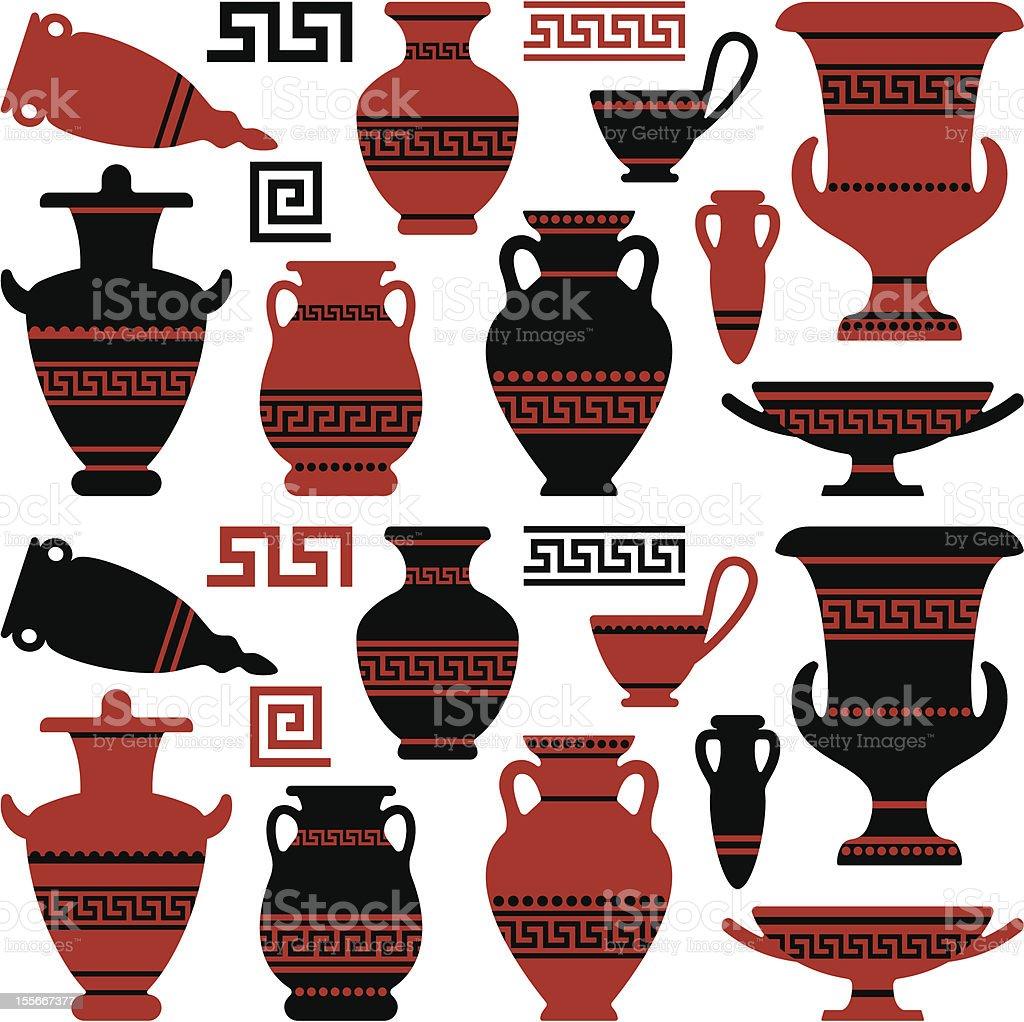 Antique vases and vessels vector art illustration