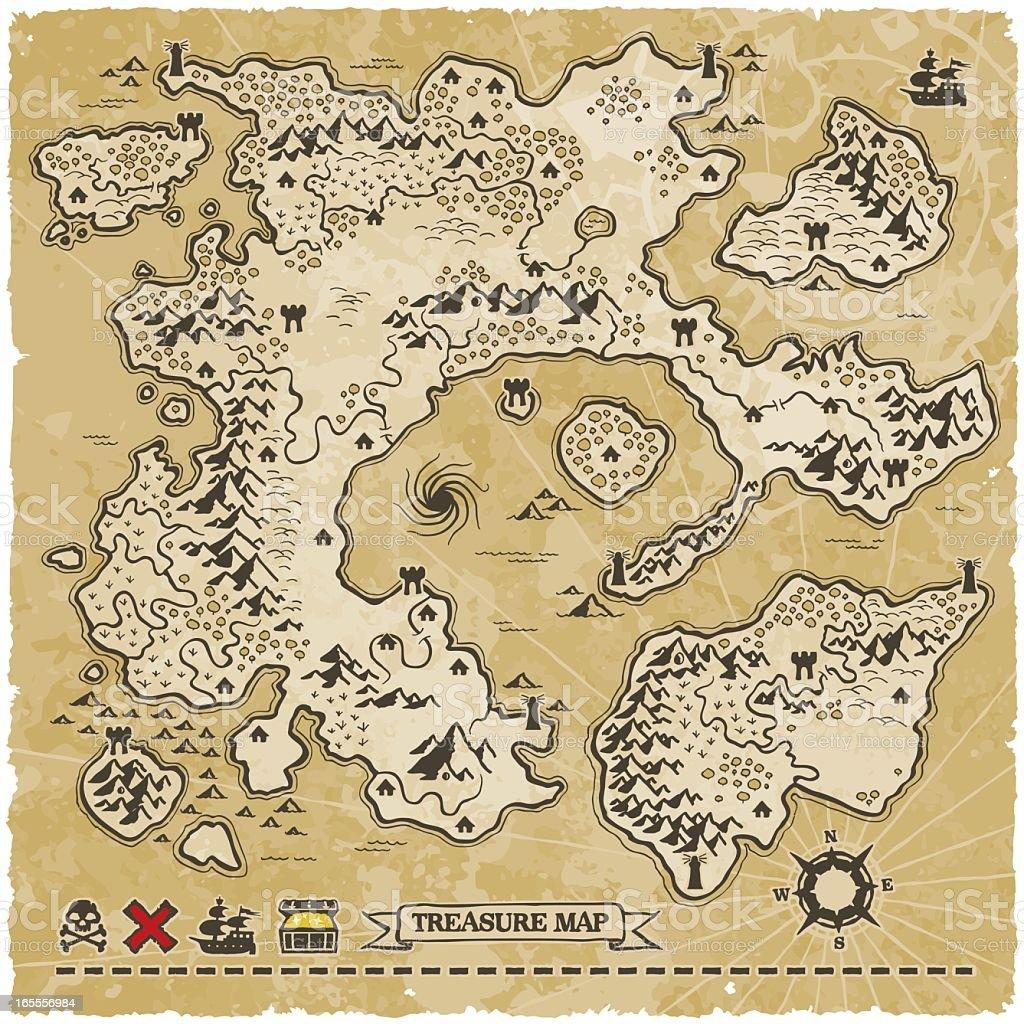 Antique Vector Treasure Map vector art illustration