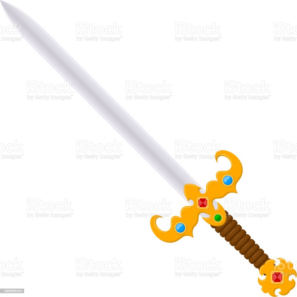 Antique vintage two-handed sword with a jeweled. Cartoon style. vector art illustration