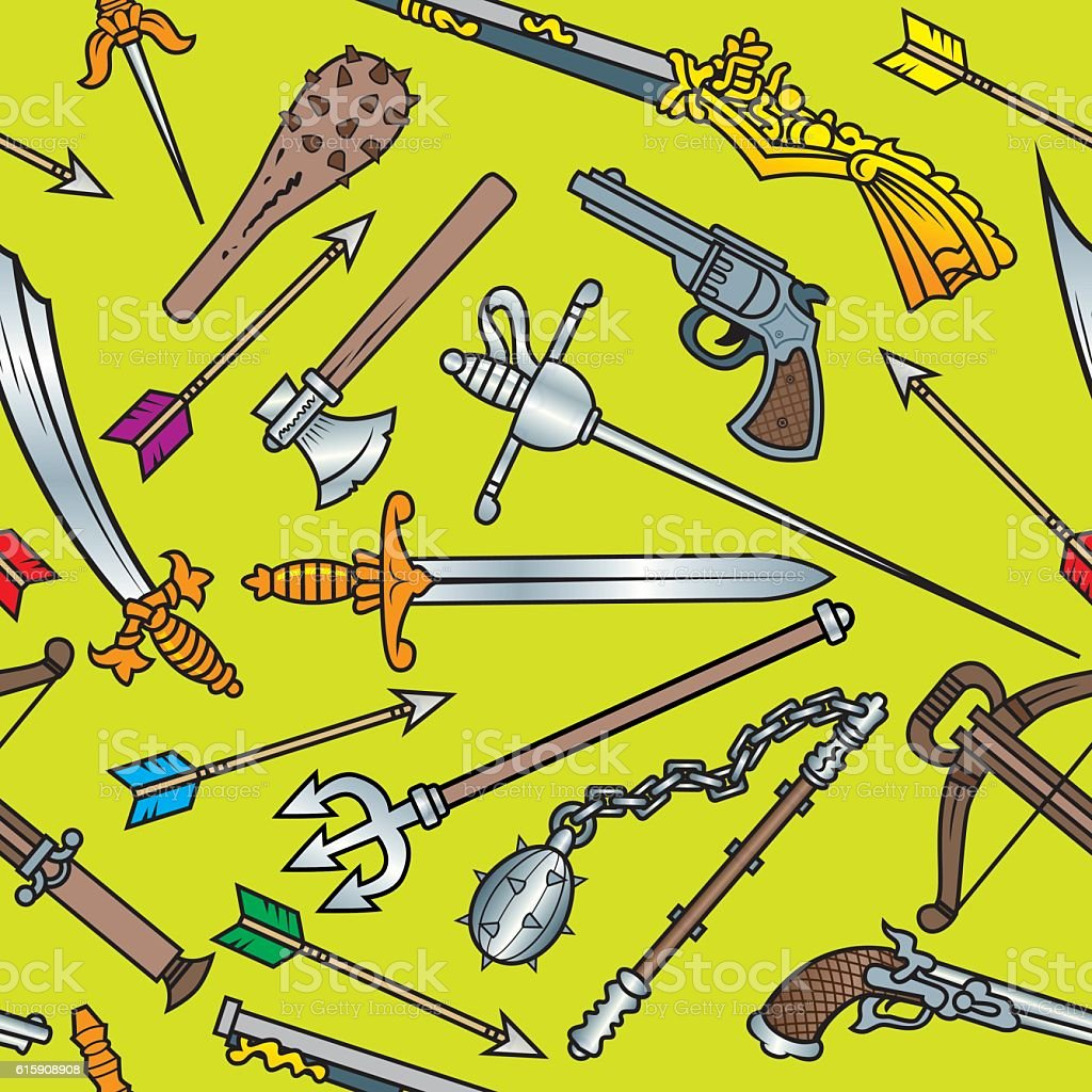 Antique Weapons Seamless Pattern vector art illustration
