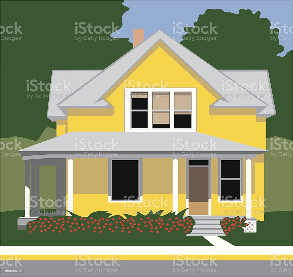 Antique Yellow House royalty-free stock vector art
