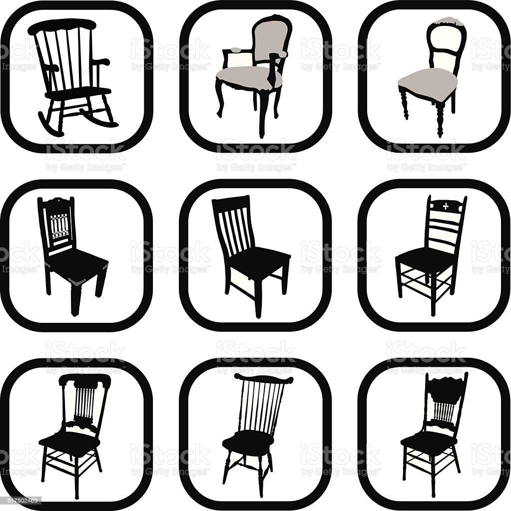 Antique chair silhouette - Silhouette Of Rocking Chair Antique Clip Art Vector Images