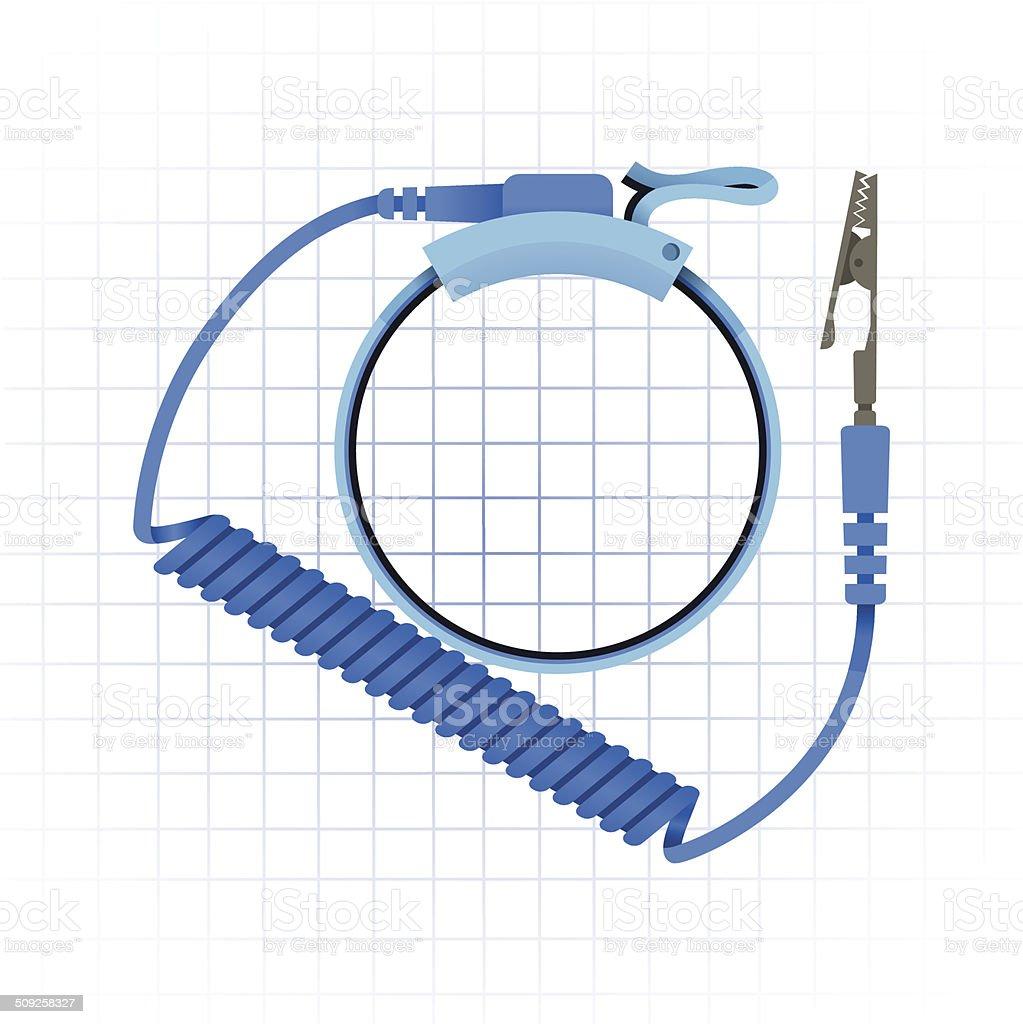 Antistatic Wrist Strap Vector Illustration vector art illustration