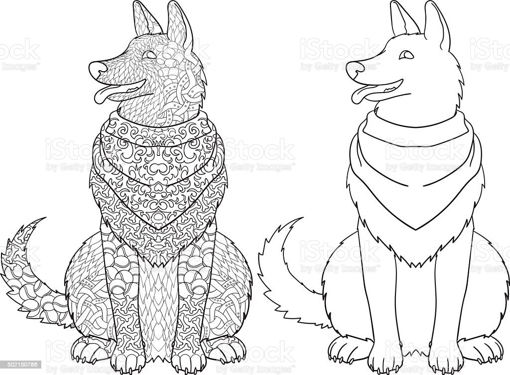 Antistress coloring page with dog. vector art illustration