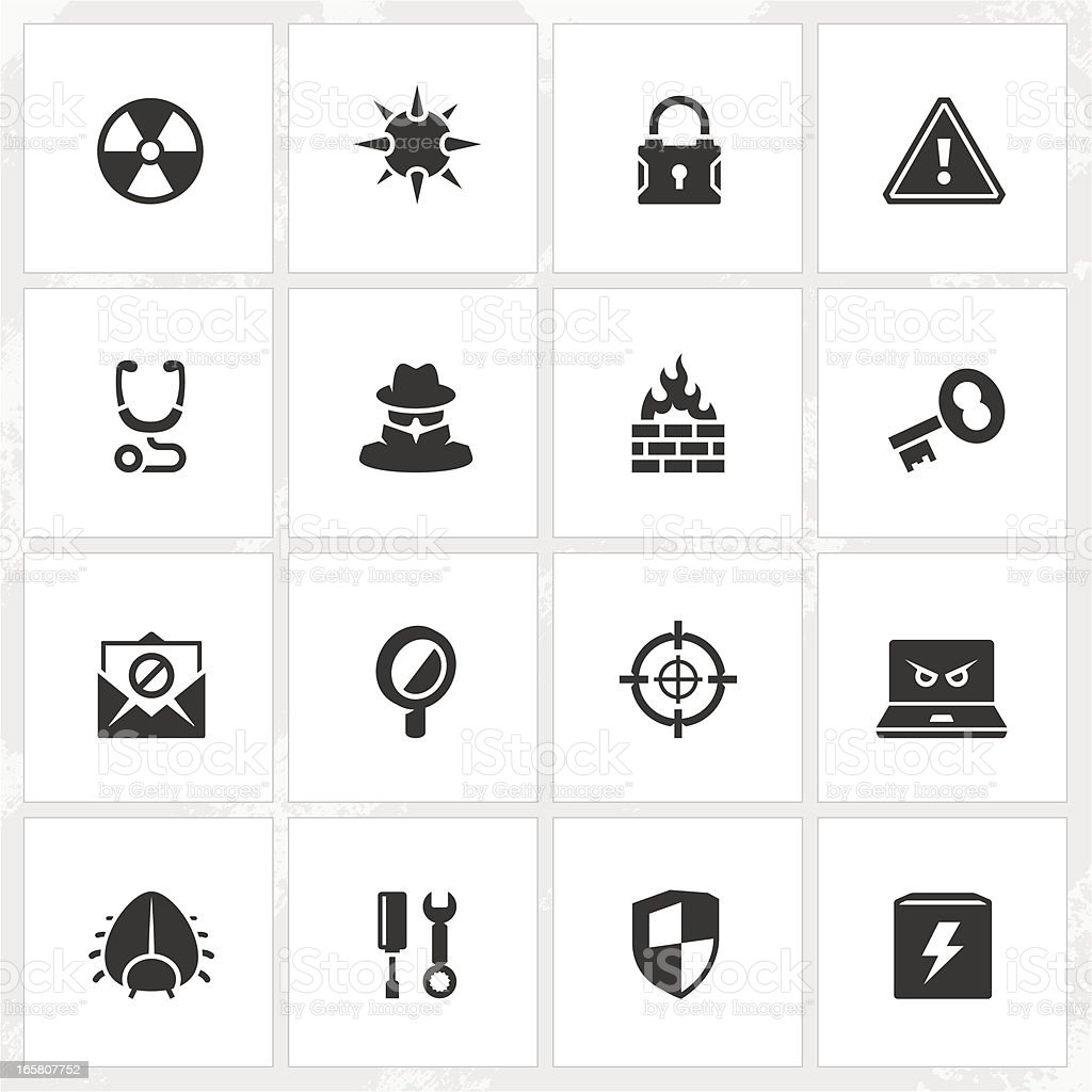 Antivirus and Security Icons vector art illustration