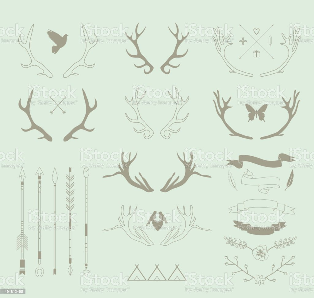 Antlers, arrows, ribbons. IDecor elements. Isolated.Vector royalty-free stock vector art