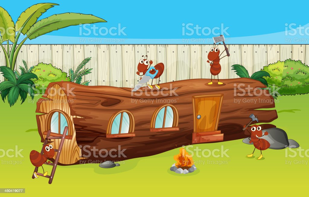 Ants and a wood house vector art illustration