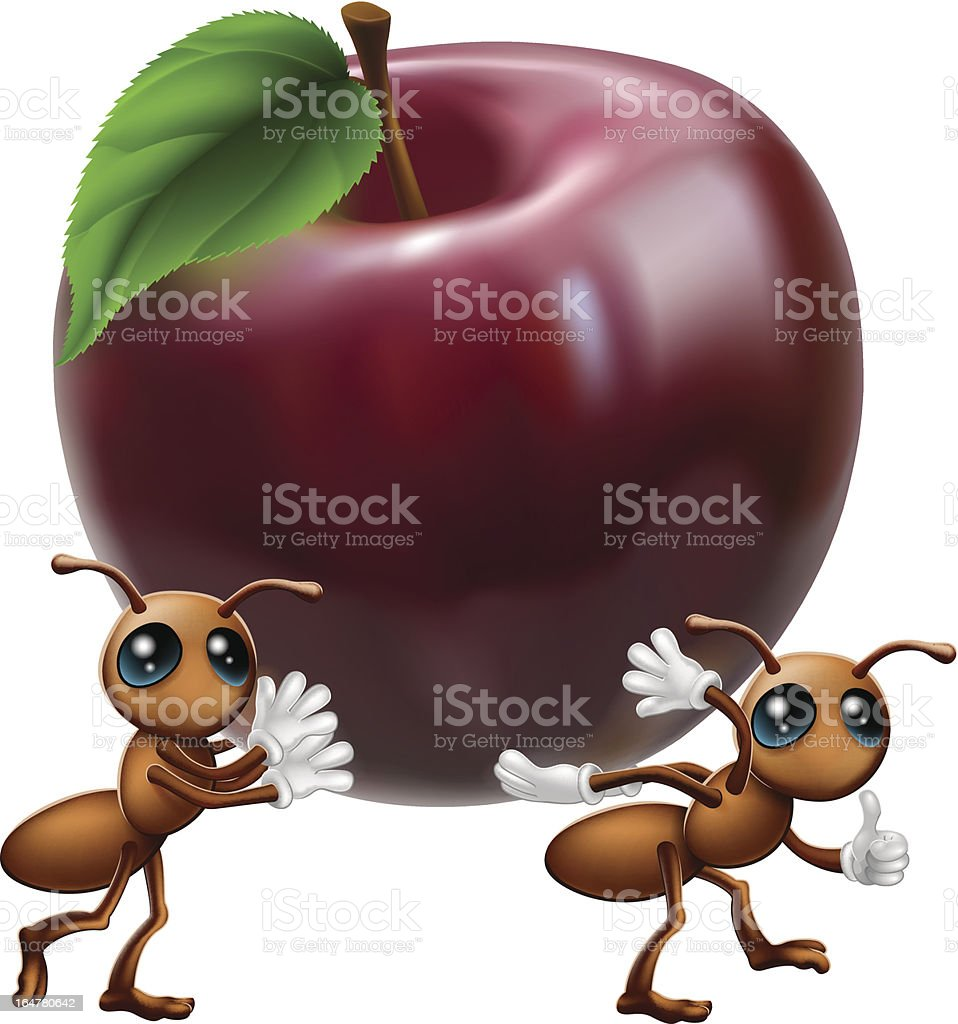 Ants carrying a big apple royalty-free stock vector art