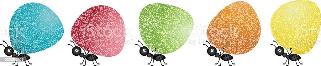 Ants carrying gumdrops vector art illustration