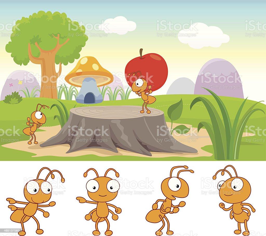 Ants working Illustration vector art illustration