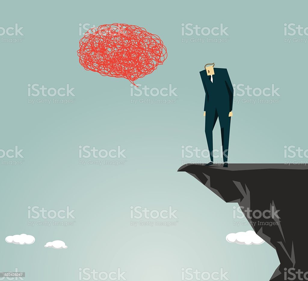 Anxiety, Despair, Depression, Recession, Sadness vector art illustration