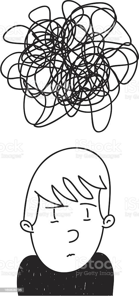 Anxious Andy is Overwhelmed & Confused vector art illustration