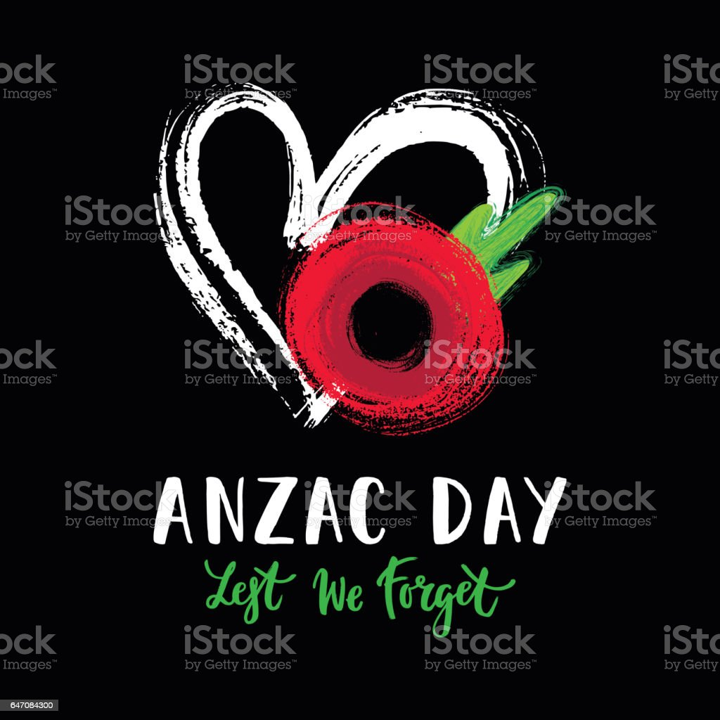 Anzac day poppy card vector art illustration