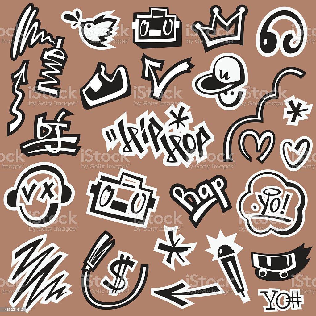 ap music , hip hop , graffiti - vector icons vector art illustration